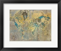 Framed Golden Teal World Map
