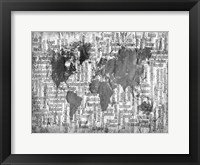 Framed Map of the World Black and White
