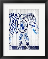 Framed Indigo Elephant 1