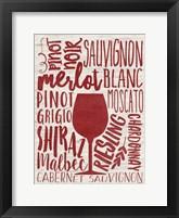 Framed Wine Types
