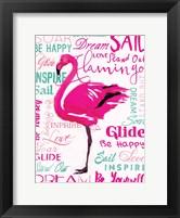 Framed Wordy Flamingo
