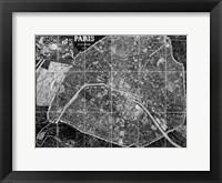 Framed Paris Map BW