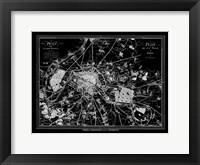 Framed Paris Map 2 BW