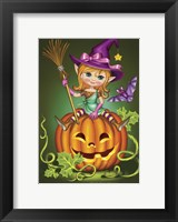 Framed Witch with a Broom on a Pumpkin