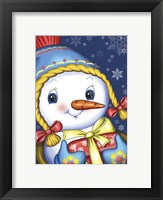 Framed Snow Girl with a Gift