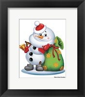 Framed Snowman With A Bag Of Gifts