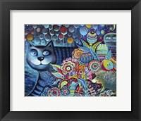 Framed Indigo Cat