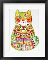Framed Green Folk Cat 1