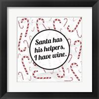 Framed Santa's Helpers - Wine