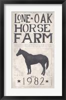 Lone Oak Horse Farm Framed Print