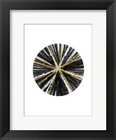 Framed Black, White, and Gold Ball