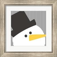Framed Snowman on Stripes