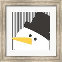 Framed Snowman on Stripes II