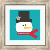 Framed Happy Holidays on Blue I
