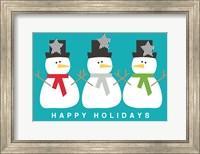 Framed 3 Modern Snowmen