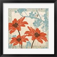 Framed Orange & Blue Floral
