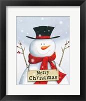 Framed Merry Christmas Snowman