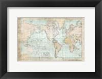 Framed World Map Vintage 1913