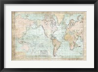 Framed World Map Vintage 1913