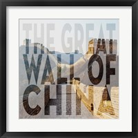 Framed Vintage The Great Wall of China, Asia, Large Center Text II