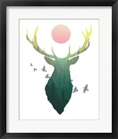 Framed Green Ombre Forest in Stag Silhouette