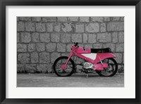 Framed Pop of Color Pink Motorcycle