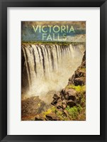 Framed Vintage Victoria Falls, Livingstone, Africa