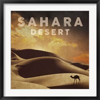 Framed Vintage Sahara Desert with Sand Dunes and Camel, Africa