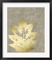 Framed Gold Foil Leaf I on Lichen Wash