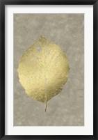 Framed Gold Foil Leaf III on Lichen Wash