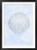 Framed Silver Foil Ocean Gems I on Blue Wash