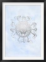 Framed Silver Foil Ocean Gems II on Blue Wash