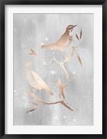 Framed Rose Gold Foil Birds I on Grey Wash
