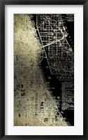 Framed Gold Foil City Map Chicago on Black