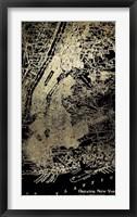 Framed Gold Foil City Map New York on Black