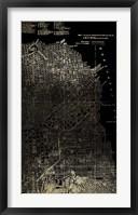 Framed Gold Foil City Map San Francisco on Black