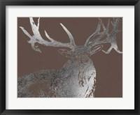 Framed Silver Foil Elk on Bitter Chocolate