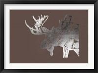 Framed Silver Foil Moose on Bitter Chocolate