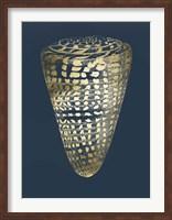 Framed Gold Foil Shell I on Cobalt