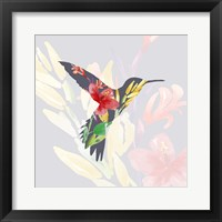 Framed Grey Floral Hummingbird