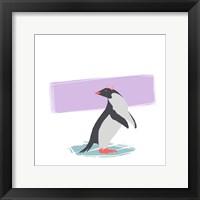 Minimalist Penguin, Girls Part I Framed Print