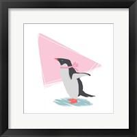 Minimalist Penguin, Girls Part III Framed Print