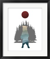 Framed Blue Ombre Mountains in Standing Bear Silhouette