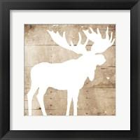 Framed White On Wood Moose
