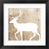 Framed White On Wood Deer Mate