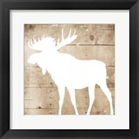 Framed White On Wood Moose Mate