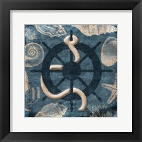 Steering Wheel Blue Framed Print