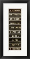 Framed Coffee List