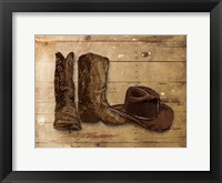 Framed Sketched Hat And Boots