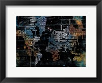Framed World Text Map